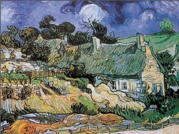 Reprodukce Chaty, domy s doškovými střechami, Auvers-sur-Oise