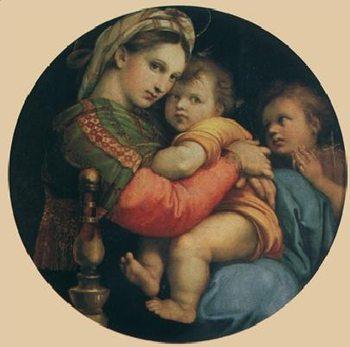 Reprodukce Rafael Santi - Madona della Sedia - Madona s židlí, 1514