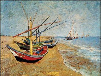 Reprodukce Rybářské lodě na pláži v Saintes-Maries-de-la-Mer, 1888