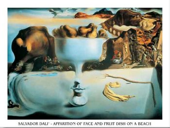 Reprodukce Zjevení tváře a ovocné mísy na pláži, 1938