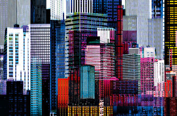 Plagát COLOURFUL SKYSCRAPERS