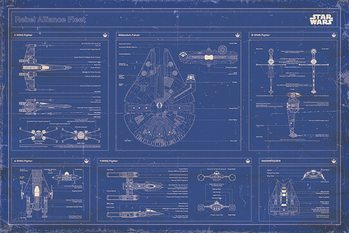 Plagát Star Wars - Rebel Alliance Fleet Blueprint
