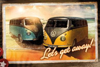 Plagát VW Camper - Let's Get Away