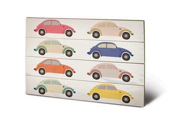 VW - Beetle Cars Pop Art plakát fatáblán