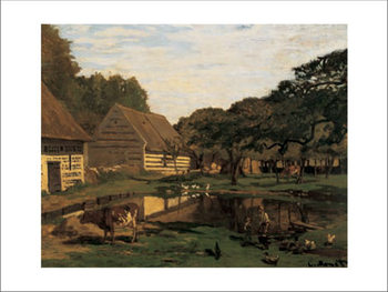 A Farmyard In Normandy Kunsttryk