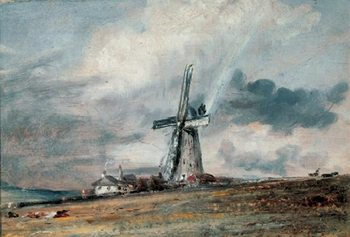 A Windmill on the Downs near Brighton Kunsttryk