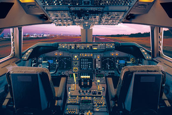 Boeing 747 - 400 flight deck Plakat