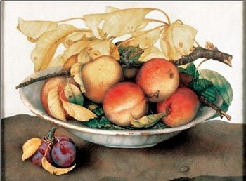 Bowl with Peaches and Plums Kunsttryk