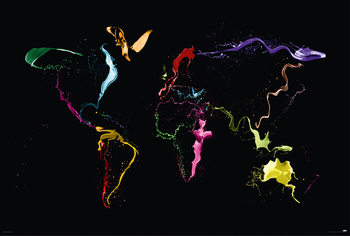 Michael Tompsett - World map Plakat