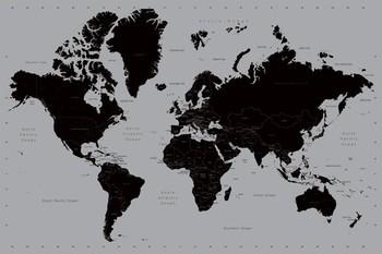 Moderne Wereldkaart - Wandkaart Plakater