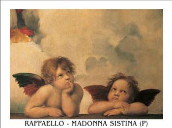 Raphael Sanzio - Sistine Madonna, detail – Cherubs, Angels 1512 Kunsttryk