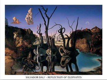 Reflection Of Elephants  Kunsttryk