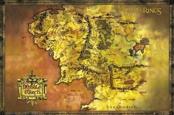 The Lord Of The Rings - Middle Earth Map Plakater
