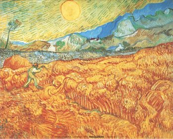 Wheat Field with Reaper, 1889 Kunsttryk