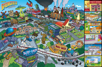 The Simpsons - Locations Poster
