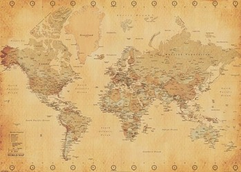 World Map - Antique Style Plakat
