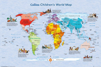 World Map for Kids Plakat