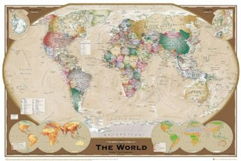 World Map - Tripel Projection Plakat