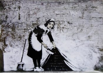 Banksy Street Art - Cleaning Maid Plakát