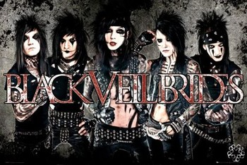 Black veil brides - leather Plakát