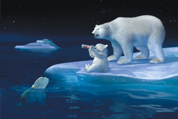 Plakat Coca Cola - polar bear swim