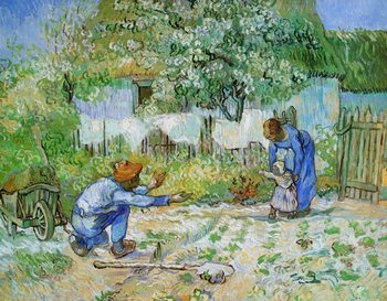 Reprodukcja First Steps (after Millet), 1890