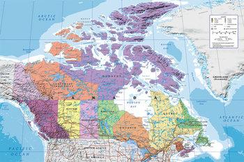 Plakat Kanada - Mapa polityczna Kanady