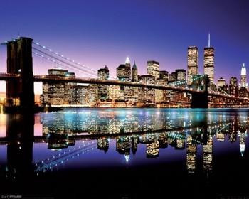 New York - Brooklyn bridge evening plakát, obraz