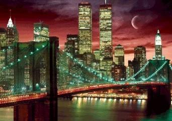 Nowy Jork - skyline colour Plakat 3D Oprawiony