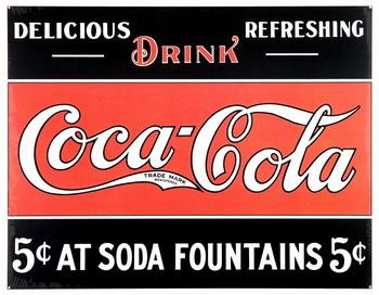 Plechová cedule COKE 5c AT FOUNTAIN