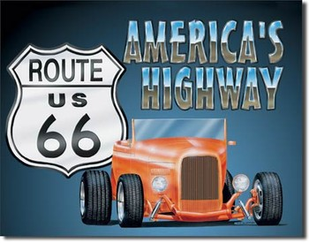 Plechová cedule ROUTE 66 - roadster