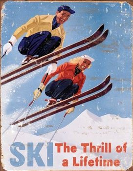 Plechová cedule Ski - Thrill of a Lifetime