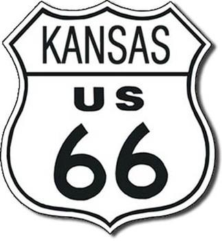 Plechová cedule US 66 - kansas
