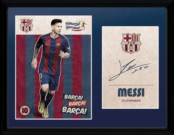 Barcelona - Messi Vintage 16/17 Poster encadré