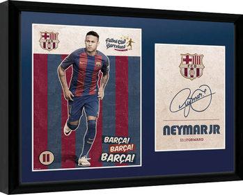 Barcelona - Neymar Vintage 16/17 Poster encadré