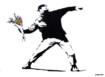 Banksy street art - graffiti throwing flowers poster, Immagini, Foto