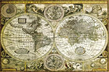 Poster Karte von Welt, Weltkarte - Historische Karte