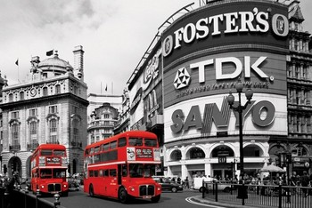 Poster London red bus - piccadilly circus