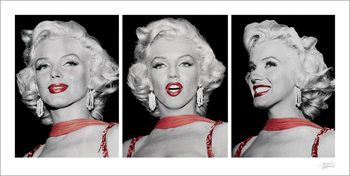 Marilyn Monroe - Red Dress Triptych Kunstdruk