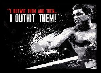 Muhammad Ali - outwit outhit ingelijste poster met glas