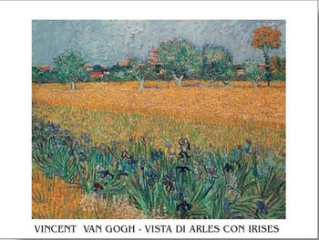 View of Arles with Irises in the Foreground, 1888 Kunstdruk