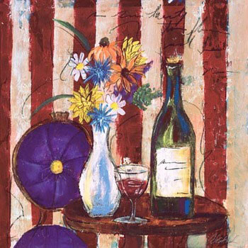 Wine & Flowers II Kunstdruk