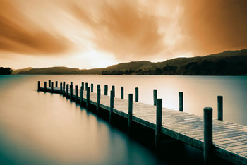 WOODEN LANDING JETTY - color Poster / Kunst Poster