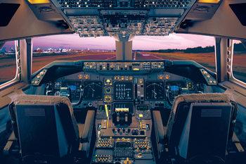 Boeing 747 - 400 flight deck Poster
