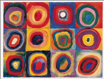 Color Study: Squares with Concentric Circles Reproducere