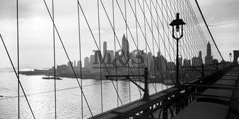 Manhattan see through cables of b.bridge 1937 Reproducere