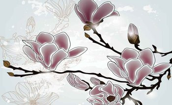 Fleurs Magnolia Branch Poster Mural XXL