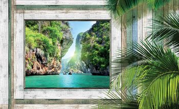 Vue Plage Tropical Poster Mural XXL
