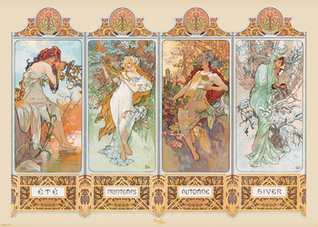 Poster Alfons Mucha - four seasons