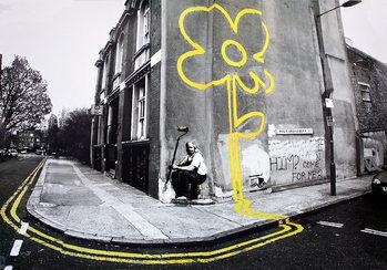 Poster Banksy street art - yellow flower